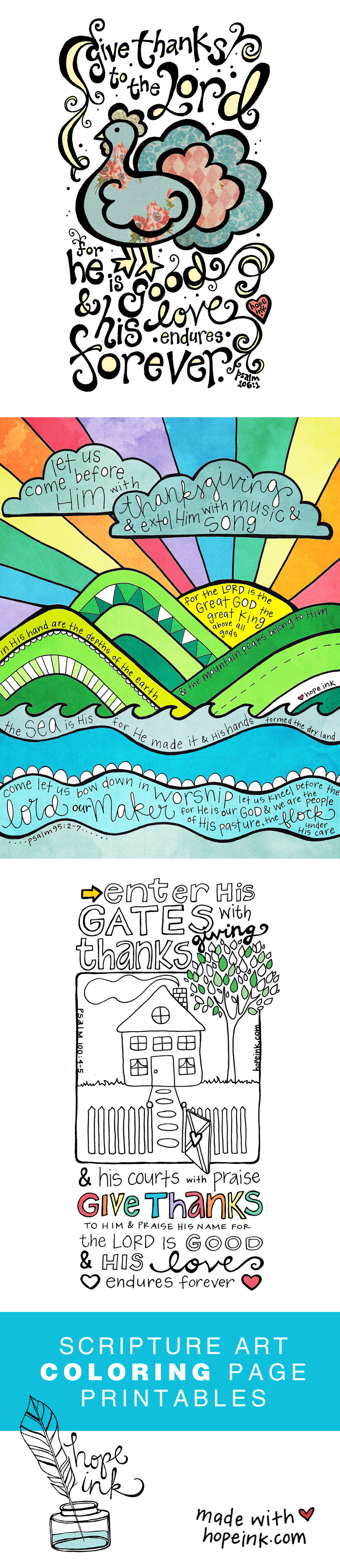Printable Scripture Art Coloring Sheets For Thanksgiving